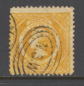 New South Wales SG 236b used. 1885 8p yellow Diadem, perf 11, sound, Fine