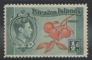 Pitcairn Is. - Scott 1 -Definitives - 1940 - MVLH - Blue Grn & Org- 1/2d Stamp3