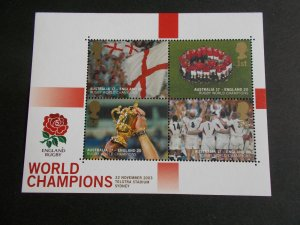 2003 England Rugby World Champions Miniature Sheet MS2416 Cat £14 Superb M/N/H