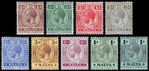 Malta Scott 49-54, 58-59, 62 (1914-21) Mint H-LH F-VF, CV $65.00