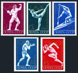 Russia 3984-3989,MNH.Michel 4020-4024,Bl.77. Olympics Munich-1972.Fencing,Boxing