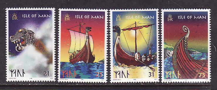 Isle of Man-Sc#771-4-unused NH set-Viking Longships-1998-