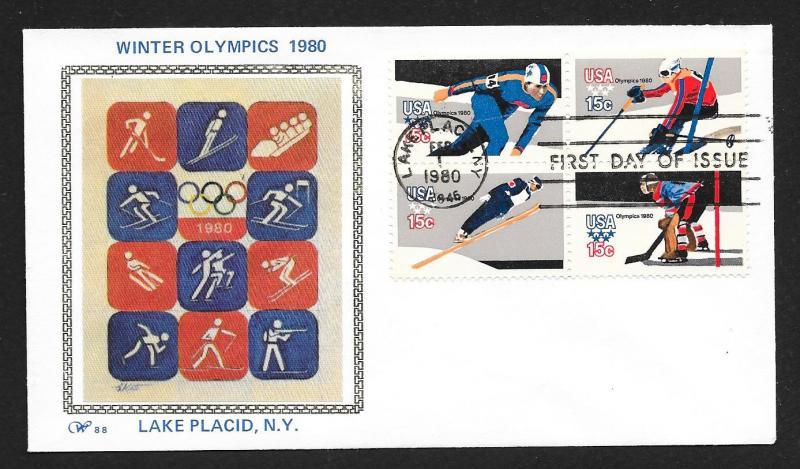 UNITED STATES FDC 15¢ Olympics BLOCK 1980 Western Silk