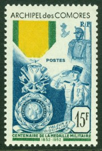 EDW1949SELL : COMOROS 1952 Sc #39 Military. Very Fine Mint Never Hinged. Cat $52