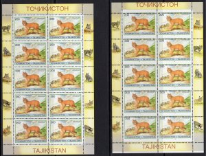 Tajikistan 1996 Sc#96 CATS (Felis chaus oxiana) Mini-Sheetlet MAJOR ERROR MNH
