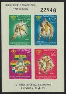 Colombia Football Basketball Baseball 4th Bolivian Games MS SG#MS1101 MI#Block