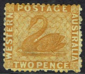 WESTERN AUSTRALIA 1864 SWAN 2D WMK CROWN CC PERF 12.5
