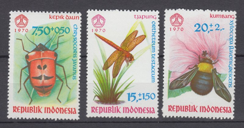 J29270, 1970 indonesia set mnh #b223-5 insects