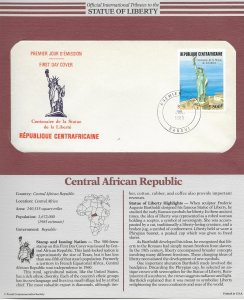 Statue of Liberty Central African Republic  #728. 1986 FDC with write up.