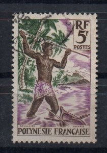 FRENCH POLYNESIA - 1958 - HARPOON FISHERMAN - 5f - Used -