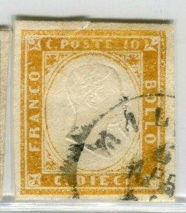ITALY SARDINIA; 1855 classic Imperf issue fine used Shade of 10c. value