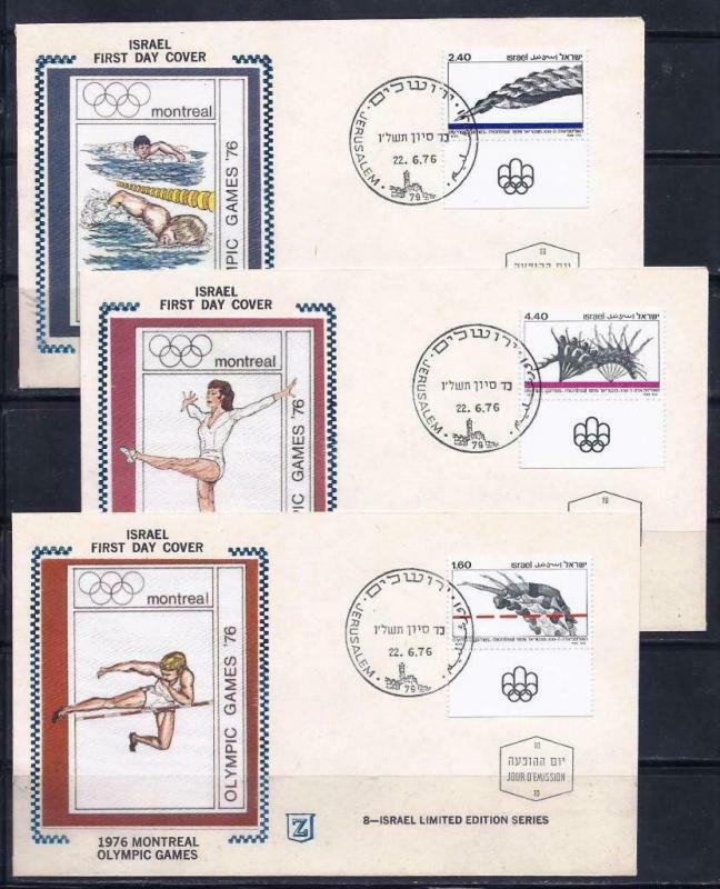 ISRAEL 1976 STAMPS MONTREAL OLYMPIC GAMES ON 3 SPECIAL FDC SPORT