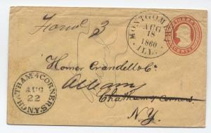 1860 Montgomery IL year dated marking on forwarded 3ct envelope [3672]