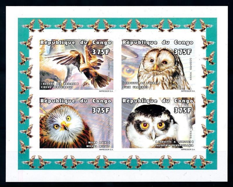[75602] Congo Brazzaville 1999 Birds Owl Imperf. Sheet MNH