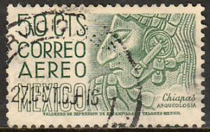 MEXICO C220En, 50cts 1950 Definitive 2nd Prtg wmk 300 PERF 11 USED (1220)