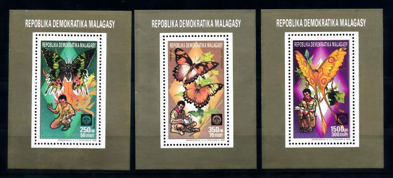 [70806] Madagascar 1988 Insects Butterflies Scouting 3 Single Sheets MNH