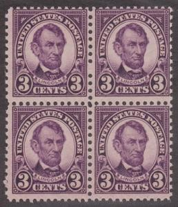 635 Lincoln  MNH block of 4