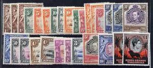 Kenya, Uganda & Tanganyika 1938-54 KG6 definitive set to ...