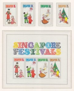SINGAPORE, 1971 Festivals set of 4 & Souvenir Sheet, mnh.