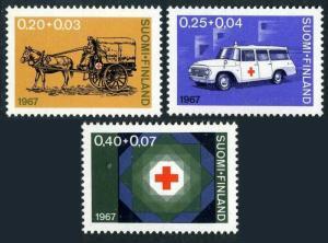 Finland B182-B184,MNH.Michel 630-632. Red Cross-1967.Horse-drawn ambulance.