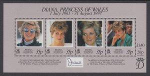 British Antarctic Territory 258 Princess Diana Souvenir Sheet MNH VF