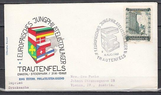 Austria, 03/AUG/61 cancel. Europa-Scout cancel on Envelope.