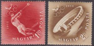 Hungary # C107-108, Helsinki Olympics, NH, 1/2 Cat.