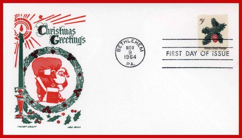 US FDC FDC #1257 M10 5c Christmas 1964 Cachet Craft - Boll Cachet
