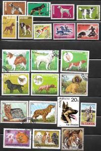 Topical Stamps - Dogs  Romania, Bulgaria, San Marino . . . .