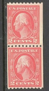 [ST]   Fresh 1914 US #442 Mint-NH ~ Vertical Coil Paste-up Pair [Perf. 10]