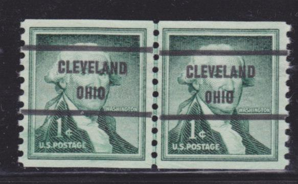 Precancel Scott 1054 - Gap Line Pair - OH - CLEVELAND