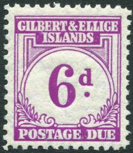 GILBERT & ELLICE ISLANDS-1940 6d Purple Postage Due Sg D6 LIGHTLY MOUNTED MINT