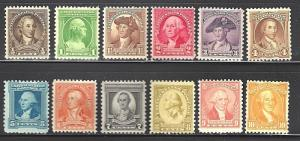 #704-715 US WASHINGTON BICENTENNIAL SET-MINT-FINE-VF