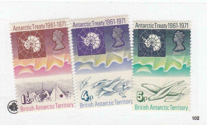 BR. ANTARCTIC TERR. (MK6532,A) # 39-41 VF-MLH/ #59-USED ANTARCTIC TREATY+ CV $34