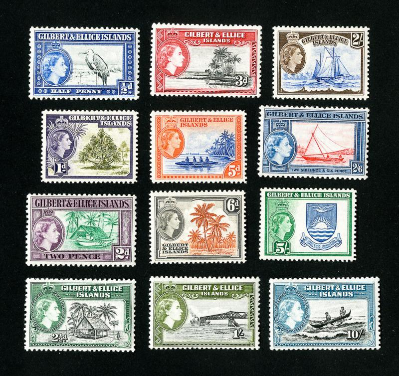 Gilbert & Ellice Stamps # 61-72 VF OG VLH Set of 12 Scott Value $62.25