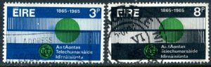 IRELAND Sc#198-199 SG#205-206 1965 ITU Centennary Complete Set F-VF Used