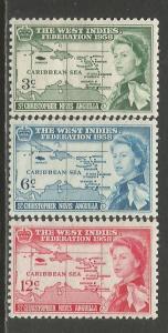 St. Kitts-Nevis  #136-38  MLH  (1958)  c.v. $3.00