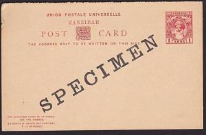 ZANZIBAR 1a+1a reply Sultan postcard optd SPECIMEN..........................6062