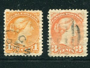 Canada #35d and #37ii  Used F-VF     - Lakeshore Philatelics