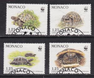 WWF Monaco # 1178-1181, Turtles, Used Set