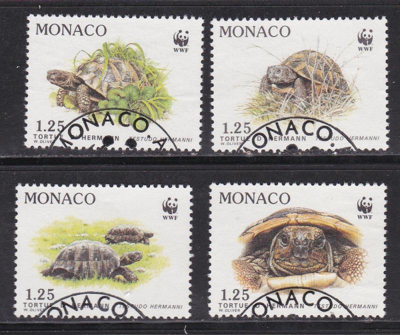 WWF Monaco # 1178-1181, Turtles, Used Set