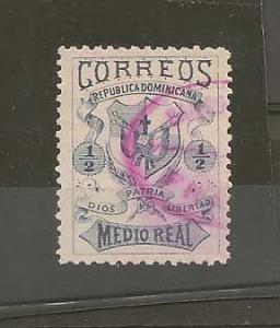 DOMINICAN REPUBLIC STAMP,VFU COAT OF ARMS 1879- 1/2 REAL #N4