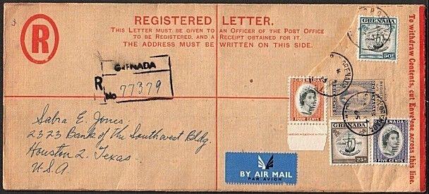 GRENADA 1965 GVI registered envelope uprated used to USA...................77670
