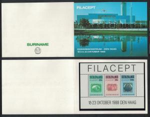 Suriname 'Filacept' International Stamp Exhibition The Hague MS Exhibition Pack