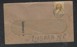 RHODESIA  & NYASALAND COVER  (P1002BB) 1956 2 1/2D ON WINDOW ENVELOPE