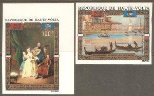 BURKINA FASO Sc# C100 - C101 var MNH FVF Set2 IMPERF UNESCO Musicians Paintings