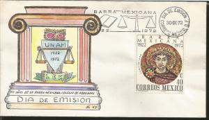 J) 1972 MEXICO, 50 YEARS OF THE MEXICAN BAR, SCHOOL OF LAWYERS,, EMPEROR JUSTINI