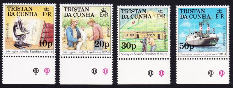 Tristan da Cunha Norwegian Expedition 4v with bottom margins SG#434/47 SC#416-19