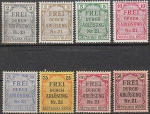 Stamp Germany Official Mi 001-8 Sc OL1-8 1903 Dienst Reich District Nr 21 MH