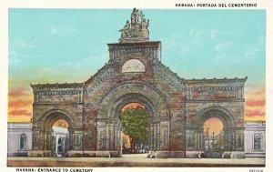 Cuba Postcard Havana Entrance to Cementery Unused Vintage
